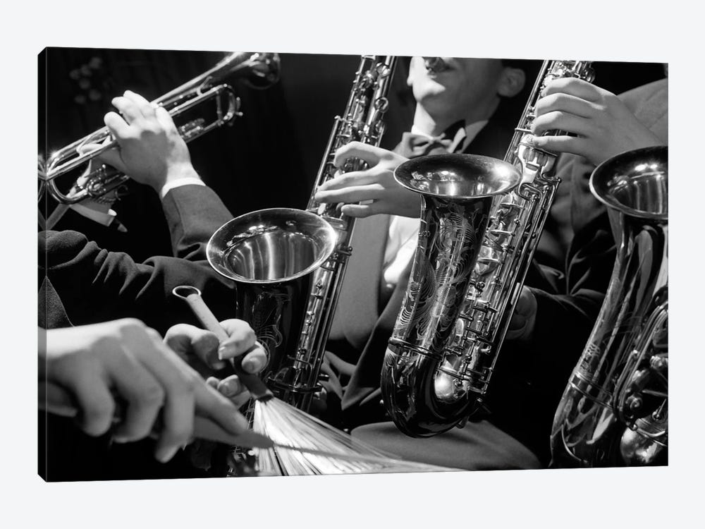 1960s Hands Of Anonymous Jazz Combo Playing Saxophones Trumpet And Cymbal With Wire Brush Drumstick by Vintage Images 1-piece Art Print
