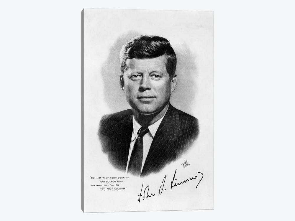 1960s JFK Official White House Portrait John Fitzgerald Kennedy 35th American President by Vintage Images 1-piece Canvas Artwork