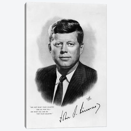 1960s JFK Official White House Portrait John Fitzgerald Kennedy 35th American President Canvas Print #VTG430} by Vintage Images Art Print