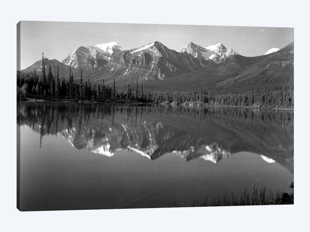 1960s Lake In Rocky Mountains Canada North Of Lake Louise On Jasper Highway by Vintage Images 1-piece Canvas Art