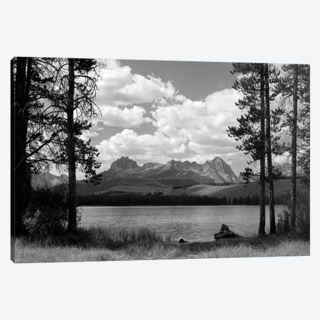 1960s Little Red Fish Lake In Idaho With Saw Tooth Mountains In Background Viewed Between Clearing In Trees Canvas Print #VTG433} by Vintage Images Art Print