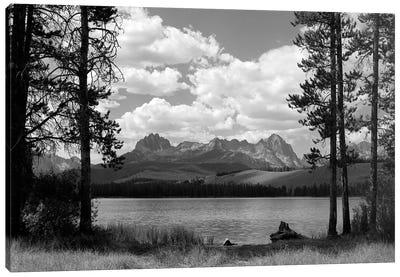 1960s Little Red Fish Lake In Idaho With Saw Tooth Mountains In Background Viewed Between Clearing In Trees Canvas Art Print