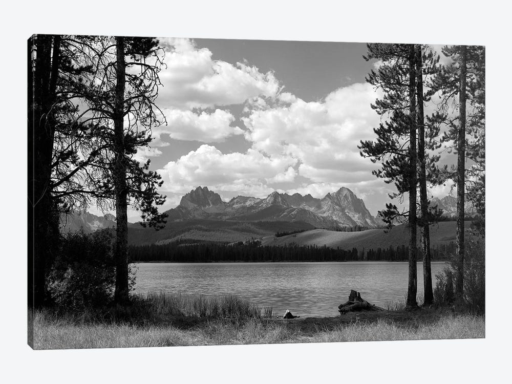 1960s Little Red Fish Lake In Idaho With Saw Tooth Mountains In Background Viewed Between Clearing In Trees by Vintage Images 1-piece Art Print