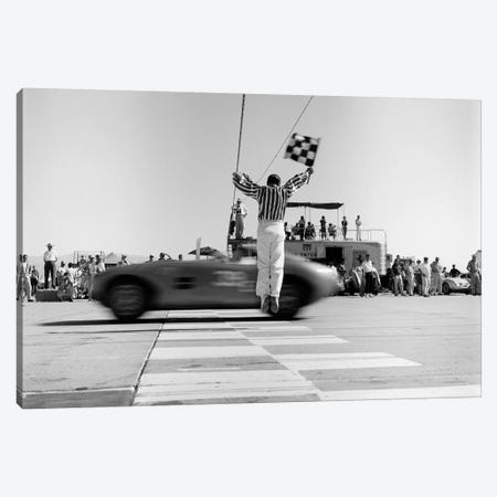 1960s Man Jumping Waving Checkered Flag For Winning Sports Car Crossing The Finish Line Canvas Print #VTG434} by Vintage Images Canvas Artwork