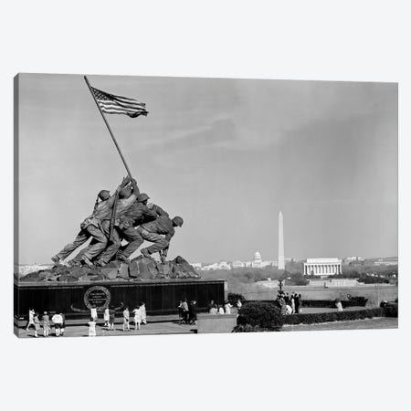 1960s Marine Corps Monument In Arlington With Washington Dc Skyline In Background Canvas Print #VTG435} by Vintage Images Canvas Artwork
