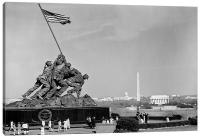 1960s Marine Corps Monument In Arlington With Washington Dc Skyline In Background Canvas Art Print