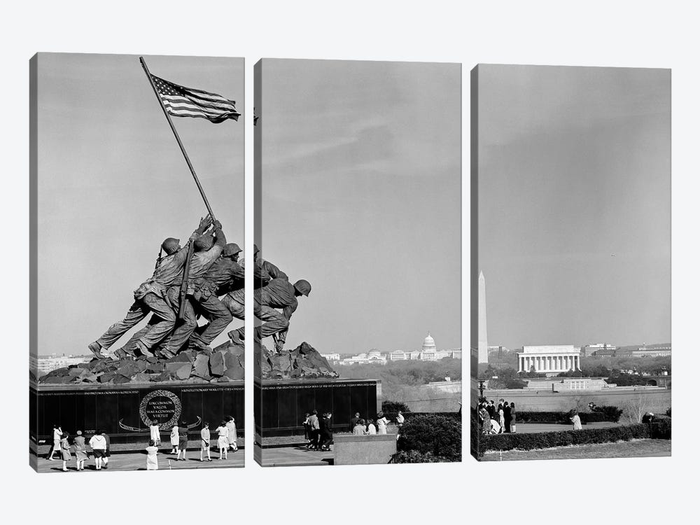 1960s Marine Corps Monument In Arlington With Washington Dc Skyline In Background by Vintage Images 3-piece Art Print