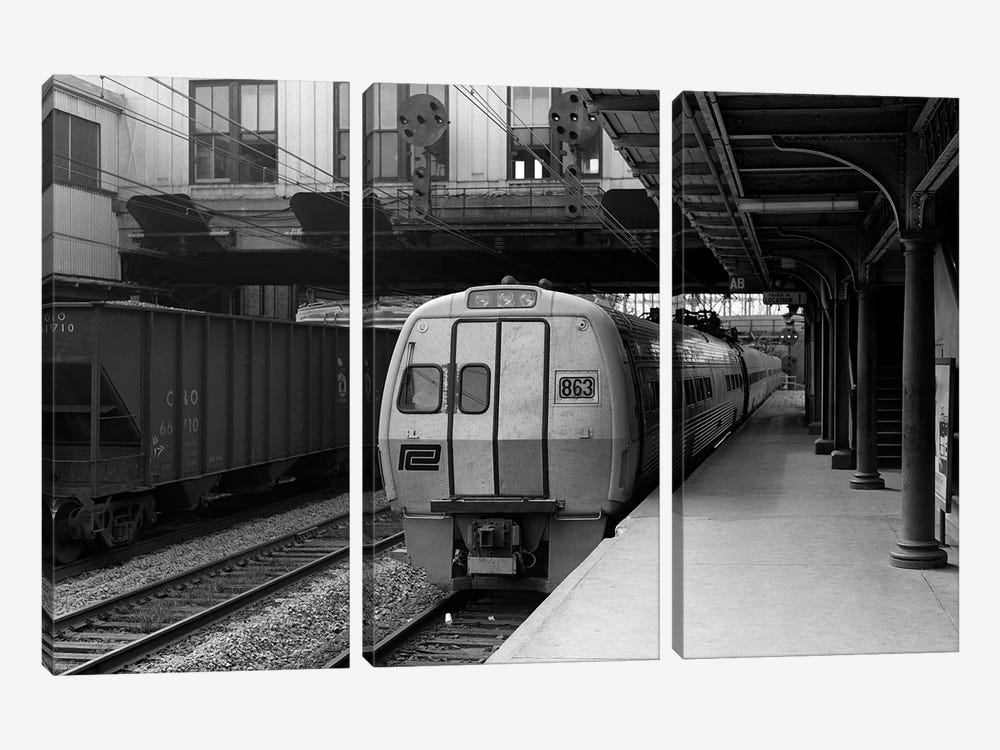 1960s Metroliner Passenger Train Stopped At Station by Vintage Images 3-piece Canvas Wall Art