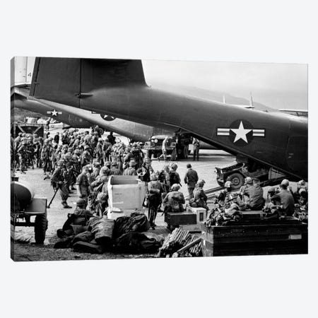 1960s Military Personnel Gathered Under Tails Of Planes In Airfield Waiting To Be Airlifted For Special Operation In Vietnam Canvas Print #VTG437} by Vintage Images Canvas Artwork