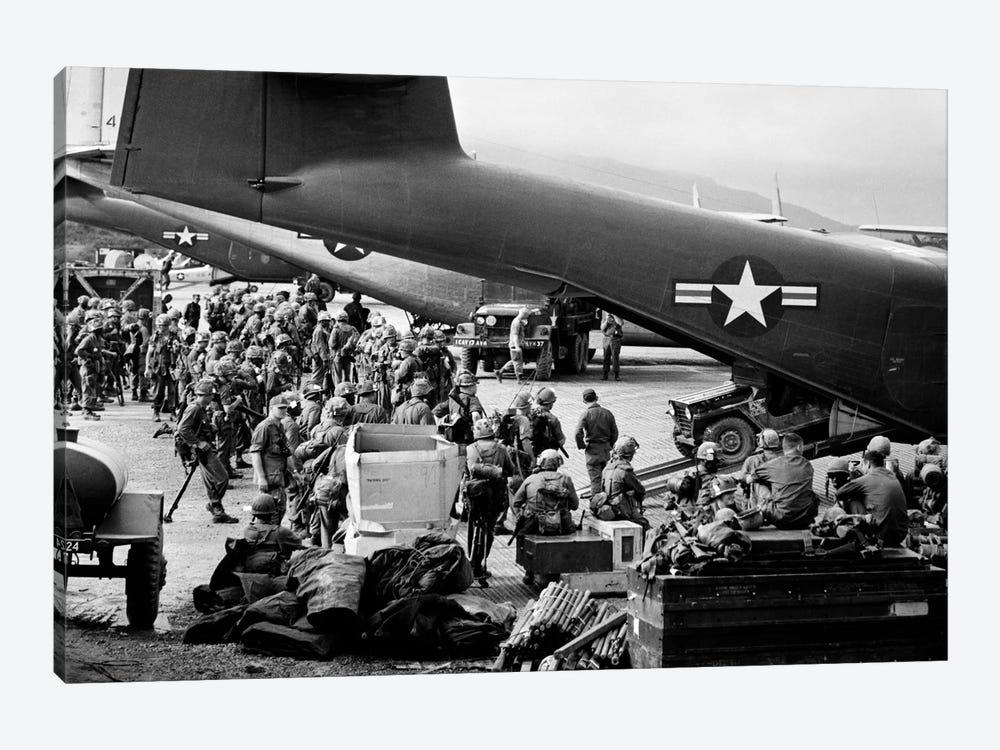 1960s Military Personnel Gathered Under Tails Of Planes In Airfield Waiting To Be Airlifted For Special Operation In Vietnam by Vintage Images 1-piece Canvas Print