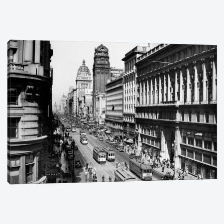 1920s Market Street From Powell Looking Toward The Ferry Building Track For Cable Cars San Francisco California USA 3-Piece Canvas #VTG43} by Vintage Images Canvas Art