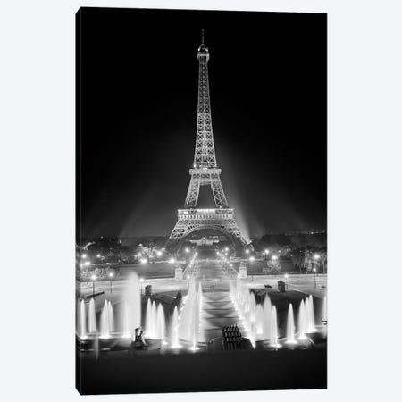 1960s Night Eiffel Tower Across Fountains By Palais du Chaillot Paris Canvas Print #VTG440} by Vintage Images Canvas Art
