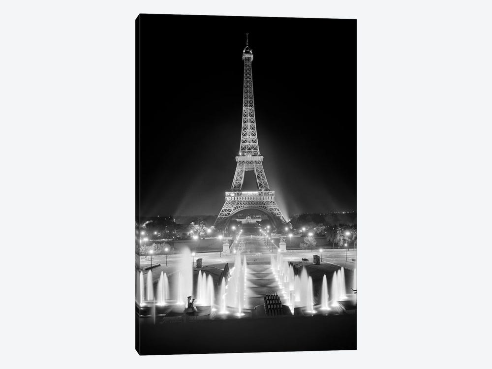 1960s Night Eiffel Tower Across Fountains By Palais du Chaillot Paris by Vintage Images 1-piece Art Print