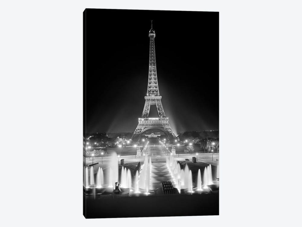 1960s Night Eiffel Tower Across Fountains By Palais du Chaillot Paris by Vintage Images 1-piece Art Print