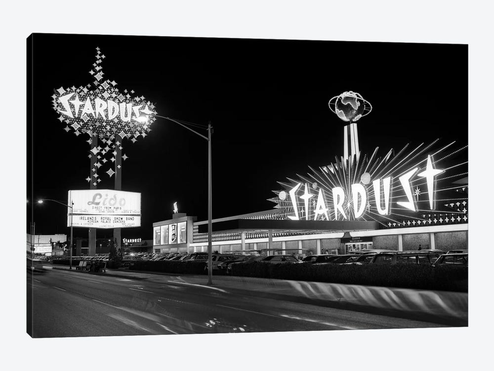 1960s Night Scene Of The Stardust Casino Las Vegas Nevada USA by Vintage Images 1-piece Canvas Art