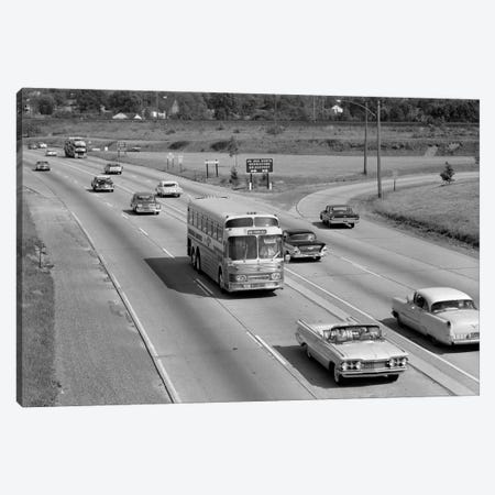 1960s Overhead Of Busy Four Lane Undivided Highway With Convertible Car And Long Haul Passenger Bus Approaching Camera Canvas Print #VTG444} by Vintage Images Canvas Art Print