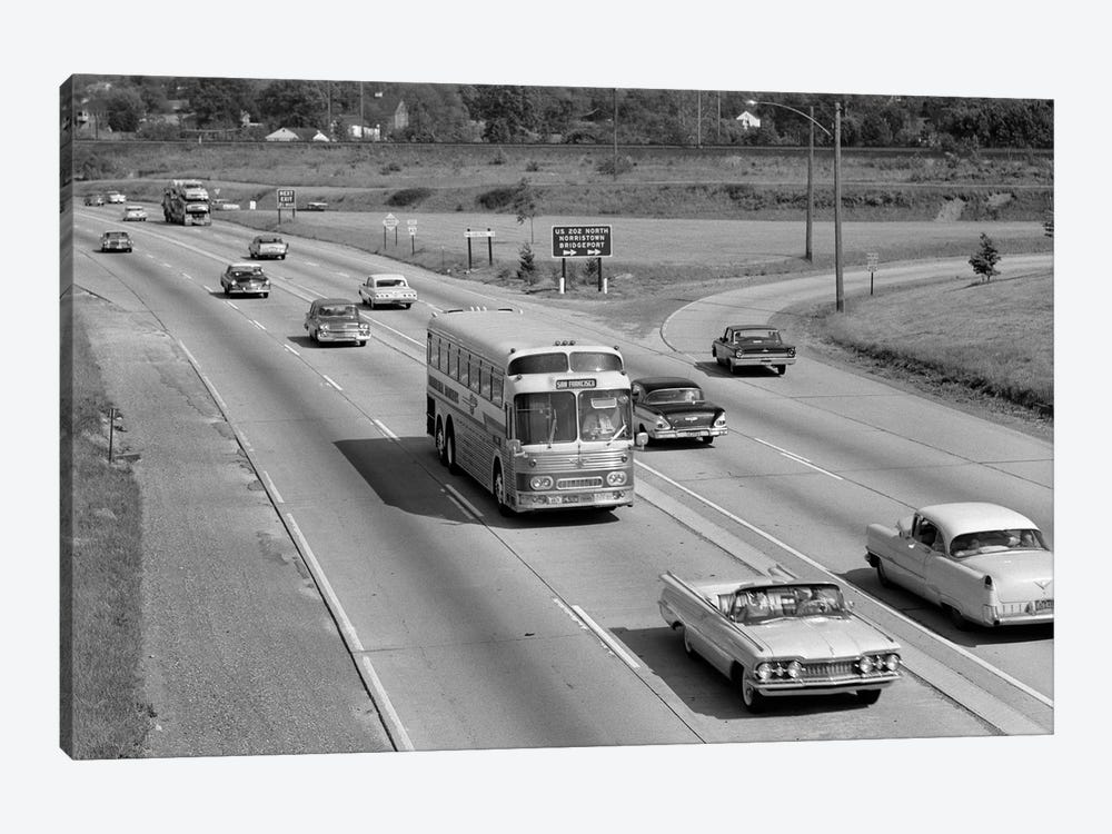 1960s Overhead Of Busy Four Lane Undivided Highway With Convertible Car And Long Haul Passenger Bus Approaching Camera by Vintage Images 1-piece Art Print