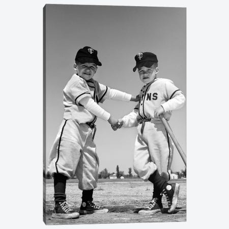 1960s Pair Of Little Leaguers In Uniform Shaking Hands One Holding Bat Looking At Camera Canvas Print #VTG446} by Vintage Images Canvas Print