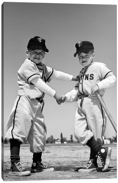 1960s Pair Of Little Leaguers In Uniform Shaking Hands One Holding Bat Looking At Camera Canvas Art Print
