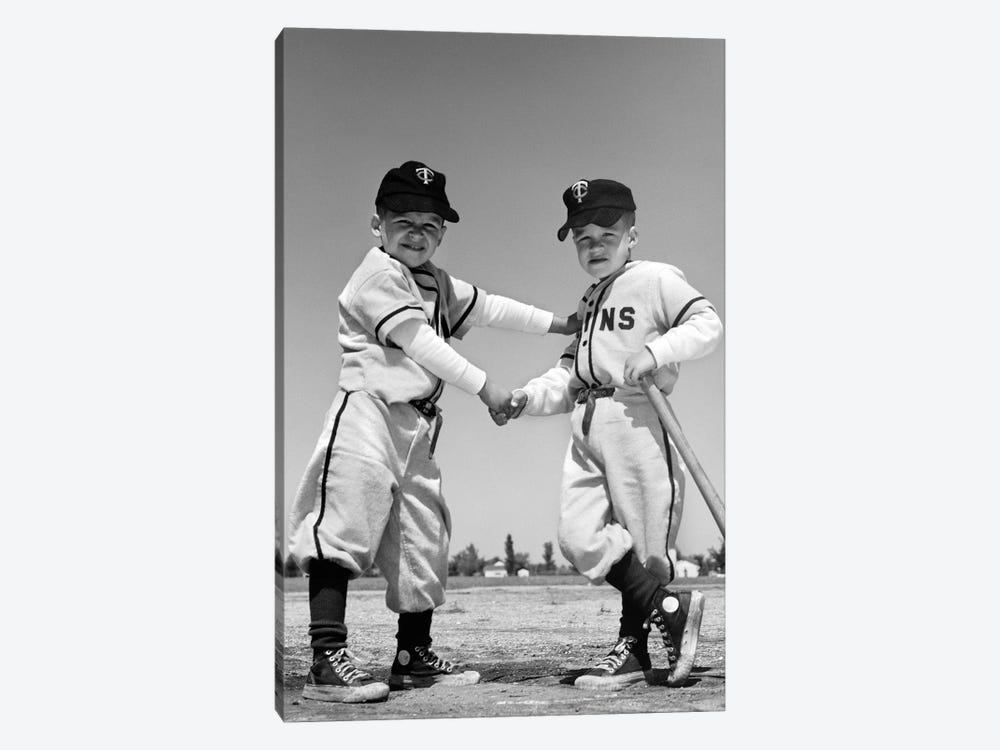 1960s Pair Of Little Leaguers In Uniform Shaking Hands One Holding Bat Looking At Camera by Vintage Images 1-piece Canvas Art Print