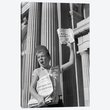 1960s Paperboy Hawking Selling Newspaper Canvas Print #VTG448} by Vintage Images Canvas Wall Art