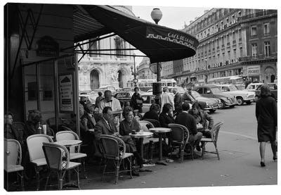 1960s Patrons At Cafe de la Paix Sidewalk Cafe Corner Of Paris Opera House In Background Paris France Canvas Art Print