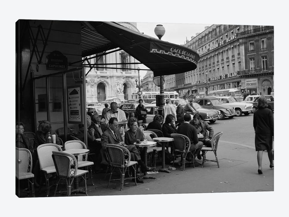 1960s Patrons At Cafe de la Paix Sidewalk Cafe Corner Of Paris Opera House In Background Paris France by Vintage Images 1-piece Canvas Artwork