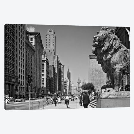 1960s People Pedestrians Street Scene Looking North Past Art Institute Lions Chicago Il USA Canvas Print #VTG450} by Vintage Images Art Print