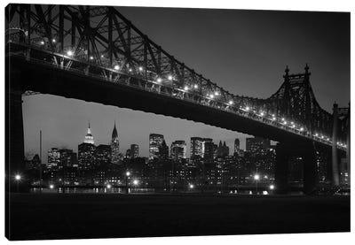 1960s Queensboro Bridge And Manhattan Skyline At Night New York City NY USA Canvas Art Print