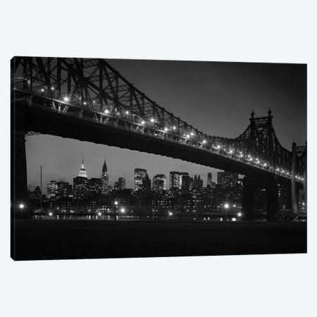 1960s Queensboro Bridge And Manhattan Skyline At Night New York City NY USA Canvas Print #VTG453} by Vintage Images Art Print