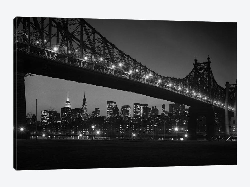 1960s Queensboro Bridge And Manhattan Skyline At Night New York City NY USA by Vintage Images 1-piece Canvas Print