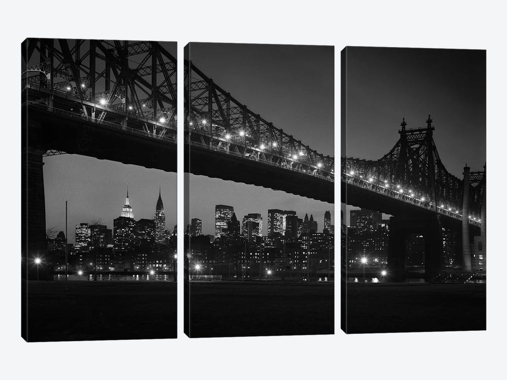 1960s Queensboro Bridge And Manhattan Skyline At Night New York City NY USA by Vintage Images 3-piece Canvas Art Print