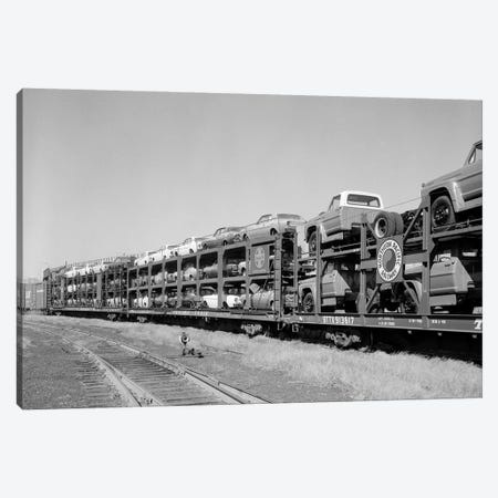 1960s Railroad Freight Train Carrying Automobiles And Pickup Trucks Canvas Print #VTG454} by Vintage Images Canvas Artwork