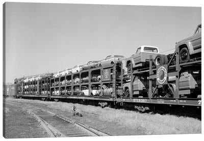1960s Railroad Freight Train Carrying Automobiles And Pickup Trucks Canvas Art Print