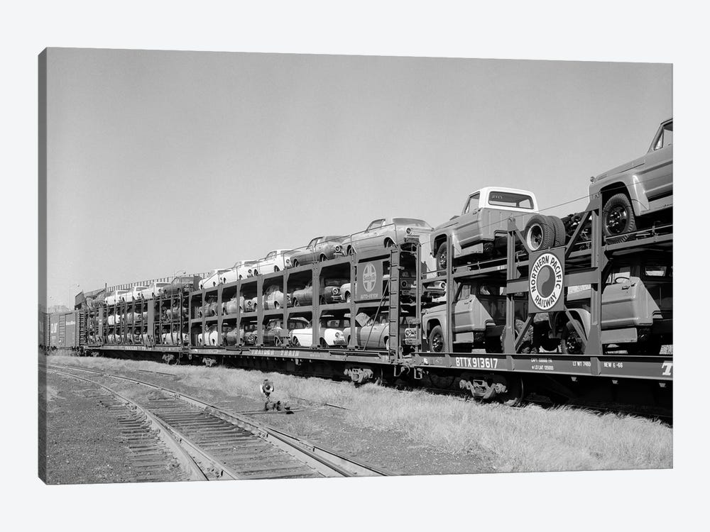 1960s Railroad Freight Train Carrying Automobiles And Pickup Trucks by Vintage Images 1-piece Canvas Wall Art