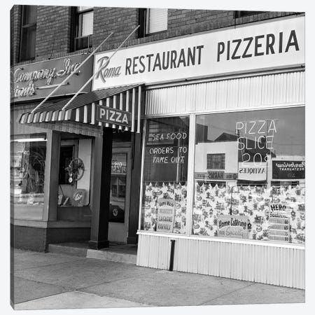 1960s Restaurant Pizzeria Storefront Canvas Print #VTG455} by Vintage Images Canvas Art