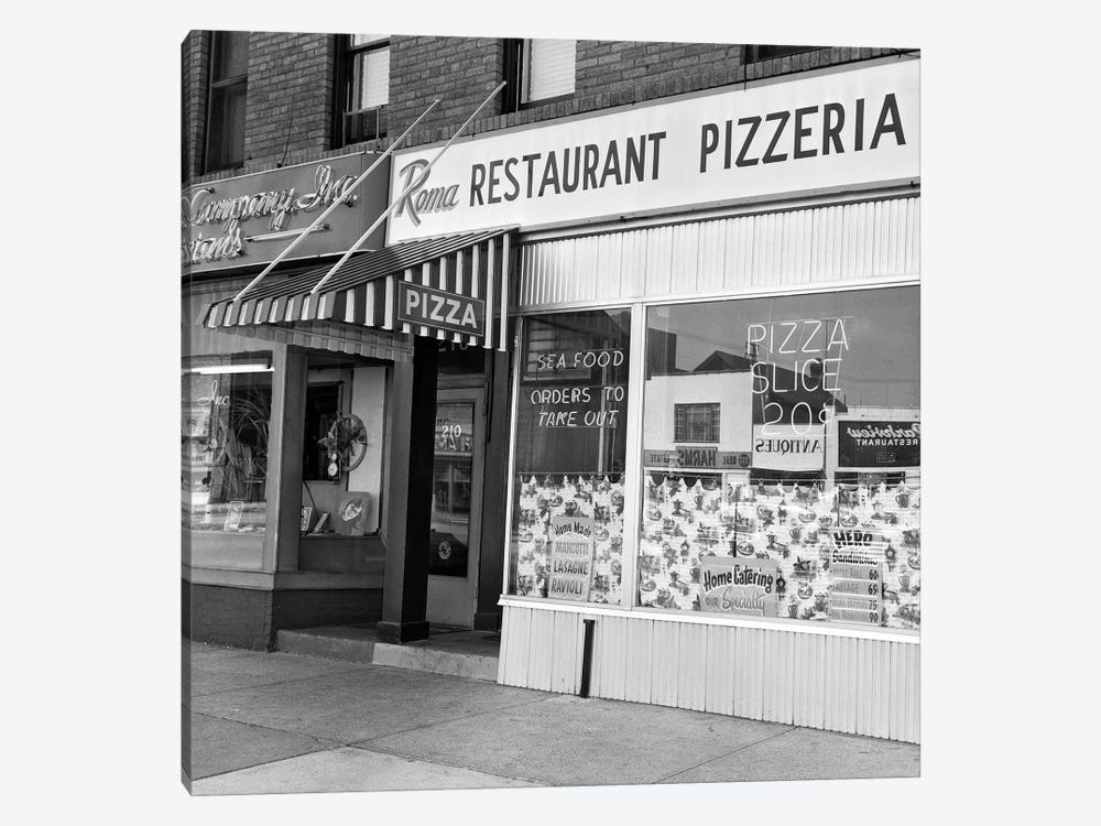 1960s Restaurant Pizzeria Storefront by Vintage Images 1-piece Art Print