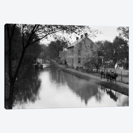 1920s Mules Towing Boat Down Lehigh Navigation Canal In New Hope Pennsylvania USA 3-Piece Canvas #VTG45} by Vintage Images Canvas Print