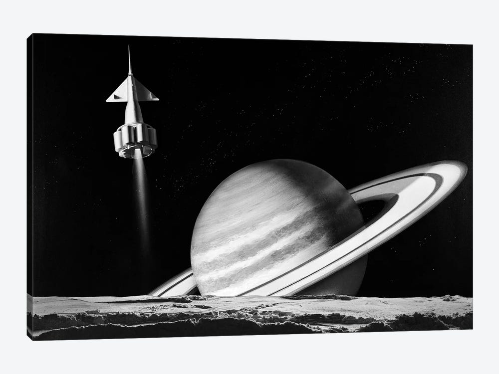 1960s Space Rocket Flying Past Saturn With Surface Of Another Planet In Foreground by Vintage Images 1-piece Art Print