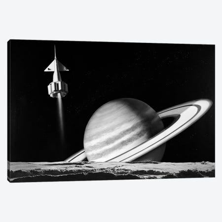 1960s Space Rocket Flying Past Saturn With Surface Of Another Planet In Foreground Canvas Print #VTG460} by Vintage Images Canvas Wall Art