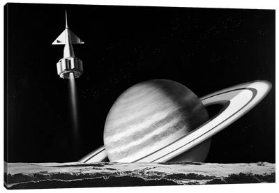 1960s Space Rocket Flying Past Saturn With Surface Of Another Planet In Foreground Canvas Art Print