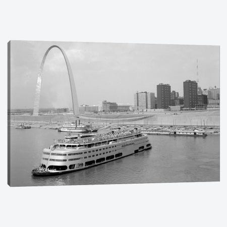 1960s St. Louis Missouri Gateway Arch Skyline Mississippi River SS Admiral Casino And Other Riverboats Canvas Print #VTG461} by Vintage Images Canvas Artwork