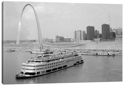 1960s St. Louis Missouri Gateway Arch Skyline Mississippi River SS Admiral Casino And Other Riverboats Canvas Art Print