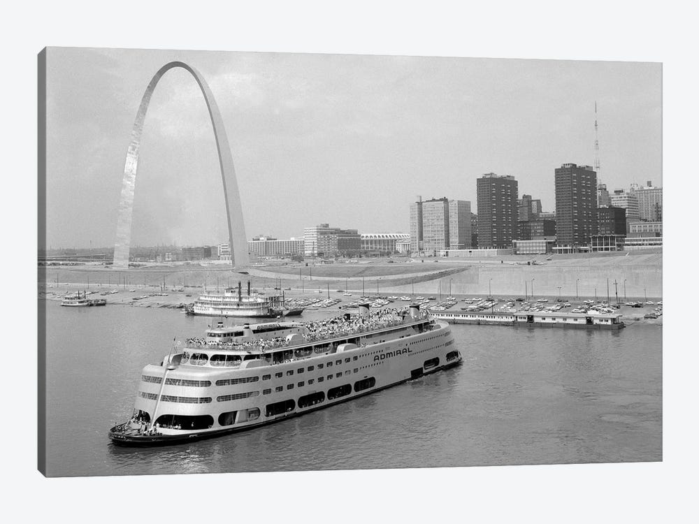1960s St. Louis Missouri Gateway Arch Skyline Mississippi River SS Admiral Casino And Other Riverboats by Vintage Images 1-piece Canvas Wall Art