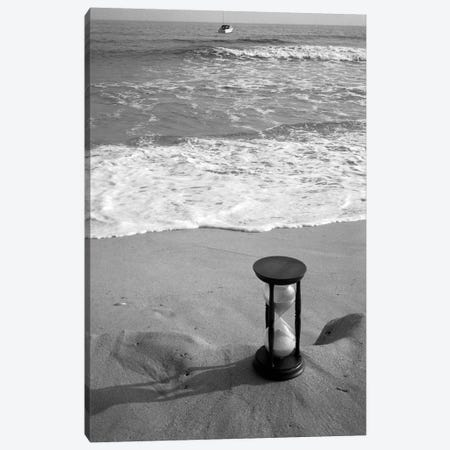 1960s Still Life Of Hourglass At Edge Of Beach Sand With Waves Washing Up On Shore And Power Boat Passing Offshore Tempus Fugit Canvas Print #VTG463} by Vintage Images Canvas Wall Art