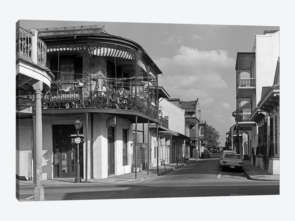 1960s Street Scene French Quarter New Orleans Louisiana USA 1-piece Canvas Art Print