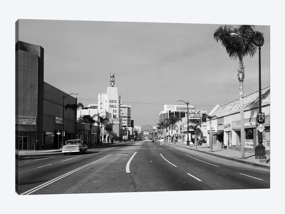 1960s Street Scene West Wilshire Blvd Los Angeles, California USA by Vintage Images 1-piece Canvas Art