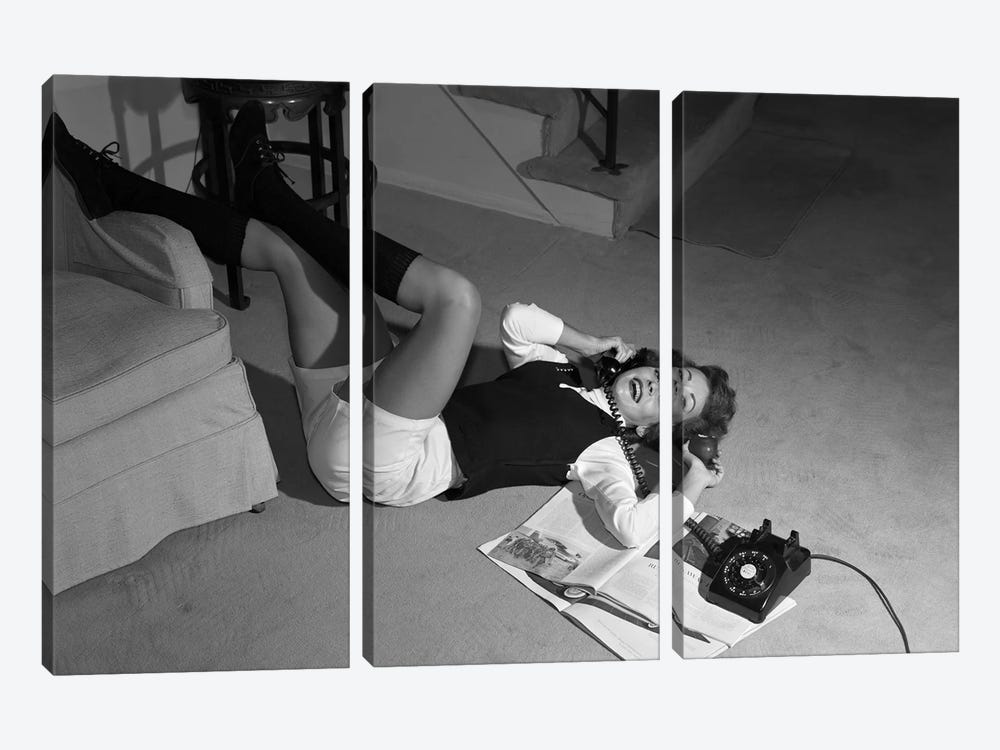 1960s Teenage Girl Lying On Floor Wear Shorts Knee Socks Reading Magazine Talking On Telephone Looking At Camera by Vintage Images 3-piece Canvas Art Print