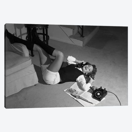 1960s Teenage Girl Lying On Floor Wear Shorts Knee Socks Reading Magazine Talking On Telephone Looking At Camera Canvas Print #VTG466} by Vintage Images Canvas Print