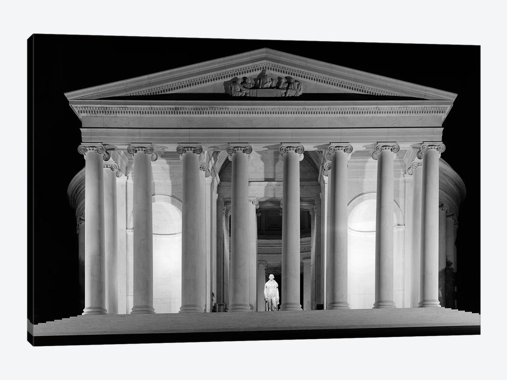 1960s Thomas Jefferson Memorial Lit Up At Night by Vintage Images 1-piece Canvas Wall Art